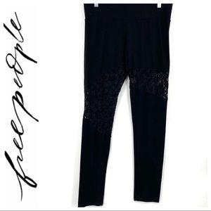 💕SALE💕 Free People Black Lace Insert Leggings